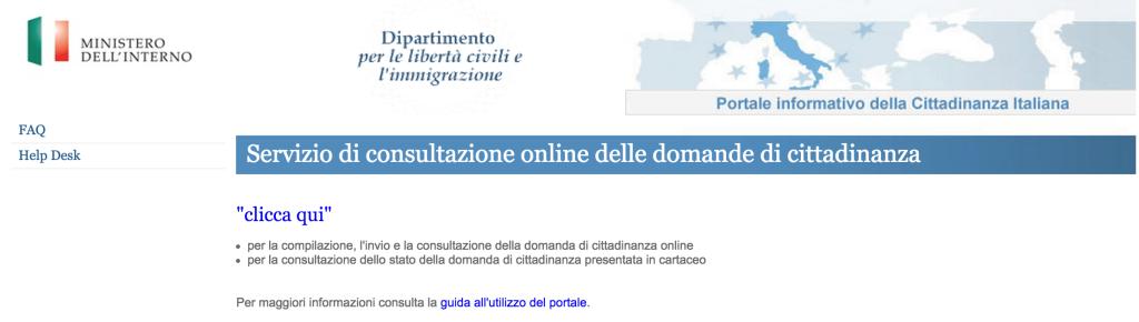 A tela do site para requerimento da cidadania italiana por casamento.